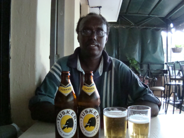 Aweis Issa at Nairobi pub patio