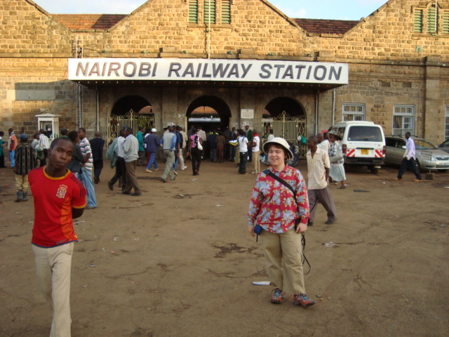 Kate @ Nairobi Railway Station prior to going to Mombasa